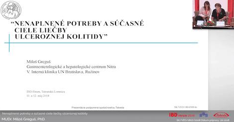 MUDr. Miloš Greguš, PhD.: Nenaplnené potreby a súčasné ciele liečby ulceroznej kolitidy