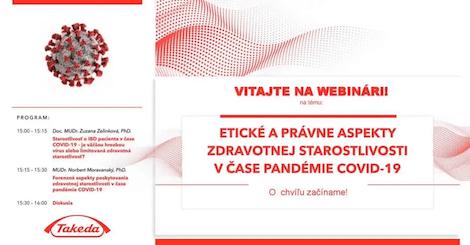 Webinár s Doc. MUDr. Zelinkovou - Etické a právne aspekty zdravotnej starostlivosti v čase pandémie COVID-19